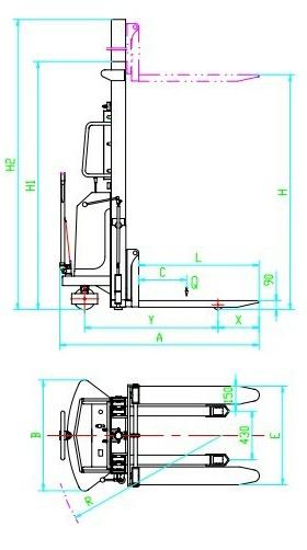 通过ce认证,双门架结构设计,货叉高度规格齐全,高强度耐磨损油缸